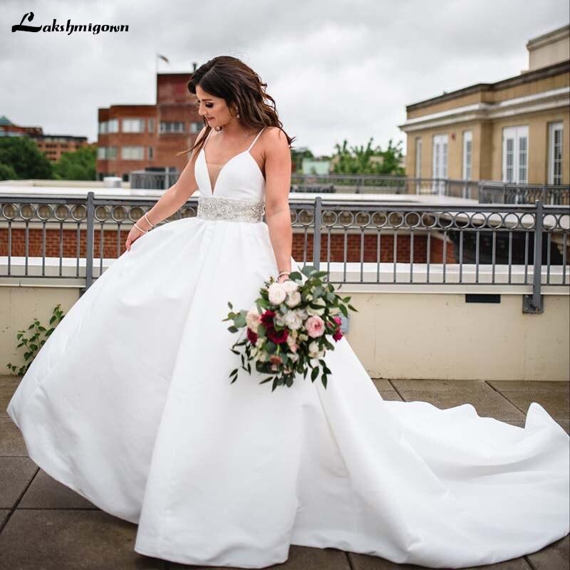 Beach Spaghetti Strap Wedding Gown: Lustrous Satin Plus Size Beach Wedding Dresses Spaghetti