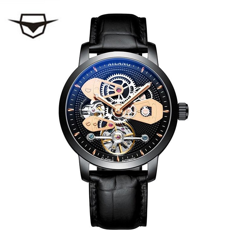 Schweizer uhr AILANG original top luxus männer automatische mechanische uhr hohl getriebe sport 50M wasserdichte uhr leder business-in Mechanische Uhren aus Uhren bei  Gruppe 1