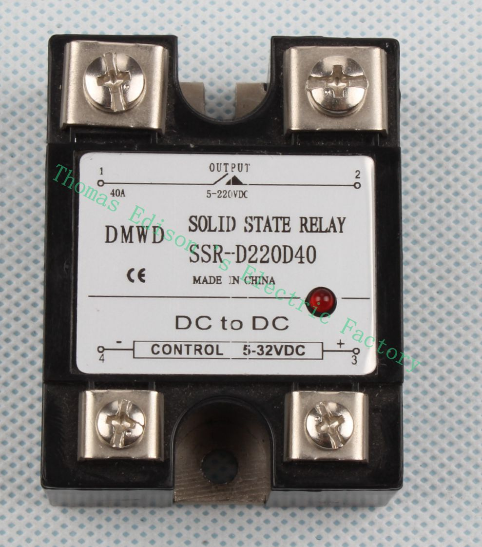 SSR 40DD 40A DC single phase solid state relay with indicator SSR-40DD Input 5-32V DC load 5-220V DC SSR-D220D40 20dd ssr control 3 32vdc output 5 220vdc single phase dc solid state relay 20a yhd2220d