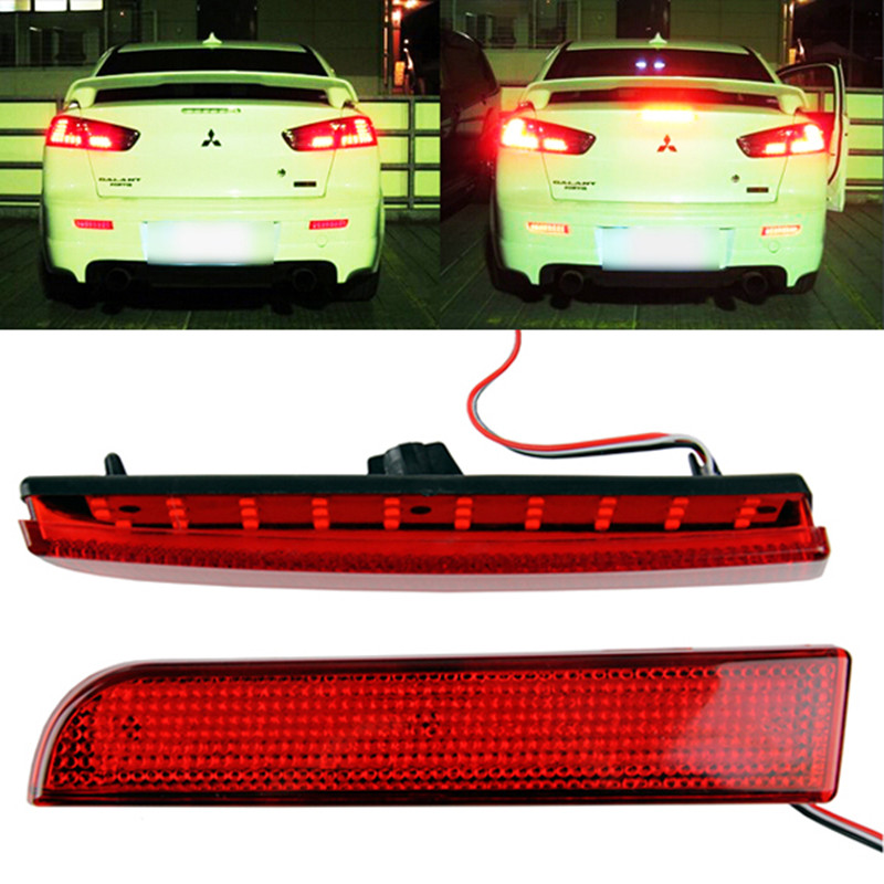 DC 12V Car <font><b>LED</b></font> Light For <font><b>Mitsubishi</b></font> <font><b>Lancer</b></font> Evo <font><b>X</b></font> Red Lens Bumper Reflector <font><b>LED</b></font> Tail Rear Bumper Lamp Brake Stop Light Lamps image