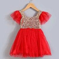 2015 New Christmas And Halloween Girl Kids Girl Golden Sequin Short Sleeve Tulle Party Dress Princess
