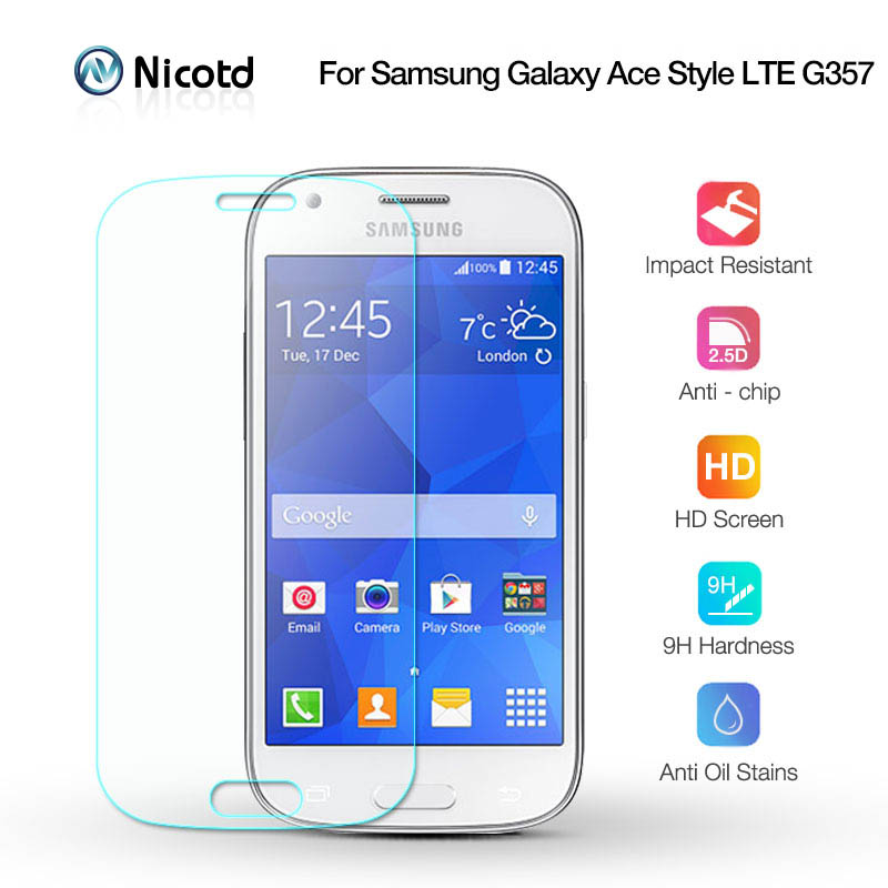 Nicotd 2.5D 9H Tempered Screen Glass For Samsung Galaxy ACE 4 G357 G357fz 2.5D Arc Edge Screen Protector Film For Samsung G357FZ