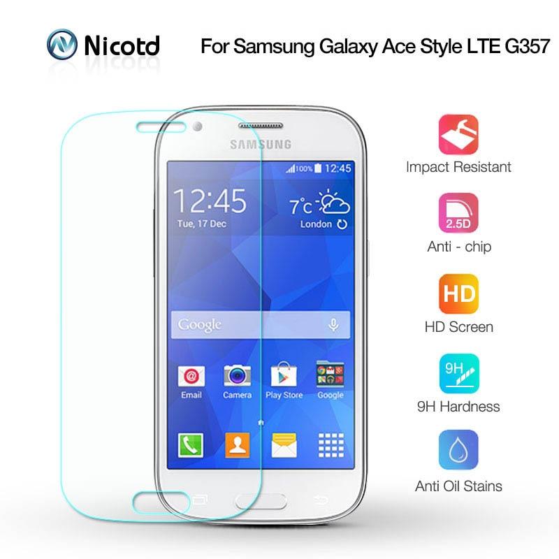 Nicotd 2.5D 9H Tempered Screen Glass For Samsung Galaxy ACE 4 G357 G357fz 2.5D Arc Edge Screen Protector Film For Samsung G357FZ