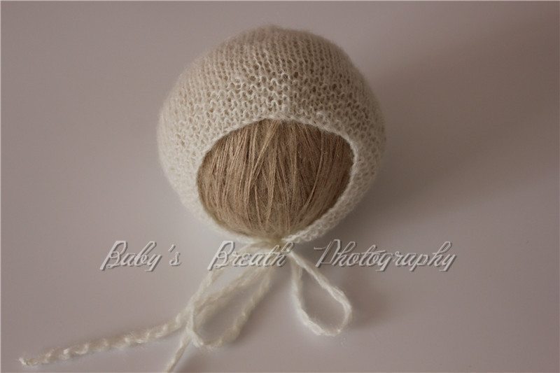 Newborn Photo Prop Newborn Mohair Bonnet Hand Knitted Baby Photography Props Various Colors