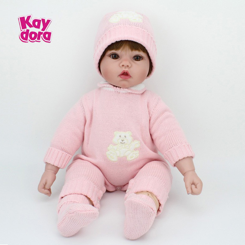 20 inch 50cm Silicone Reborn Baby Dolls Realistic Soft Vinyl Real Dolls Girls Alive Kids Reborn Babies Toys Birthday Xmas Gift npkcollection 50 cm real dolls baby alive bonecas realistic silicone reborn dolls soft toy for girls birthday xmas gift juguete