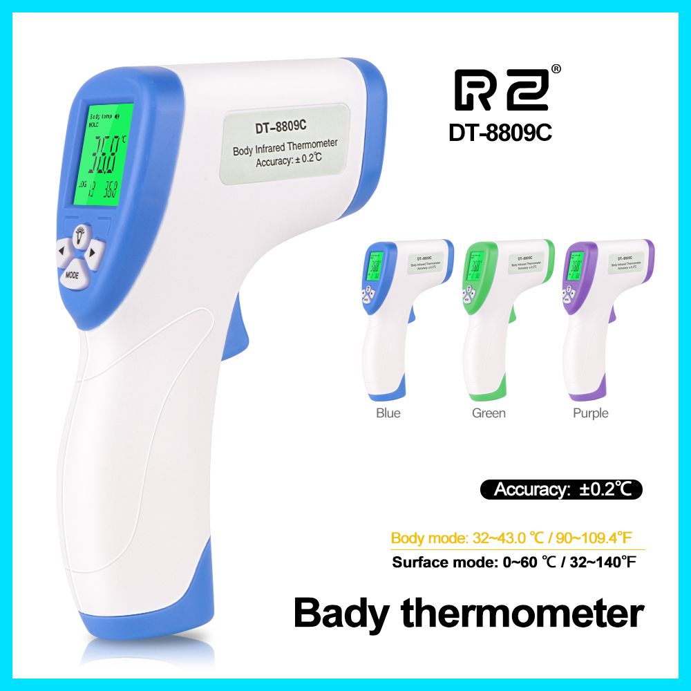 RZ Infrared Forehead Digital Thermometer Portable Termometro Gun Baby Temperature Measurement Device DT 8809C