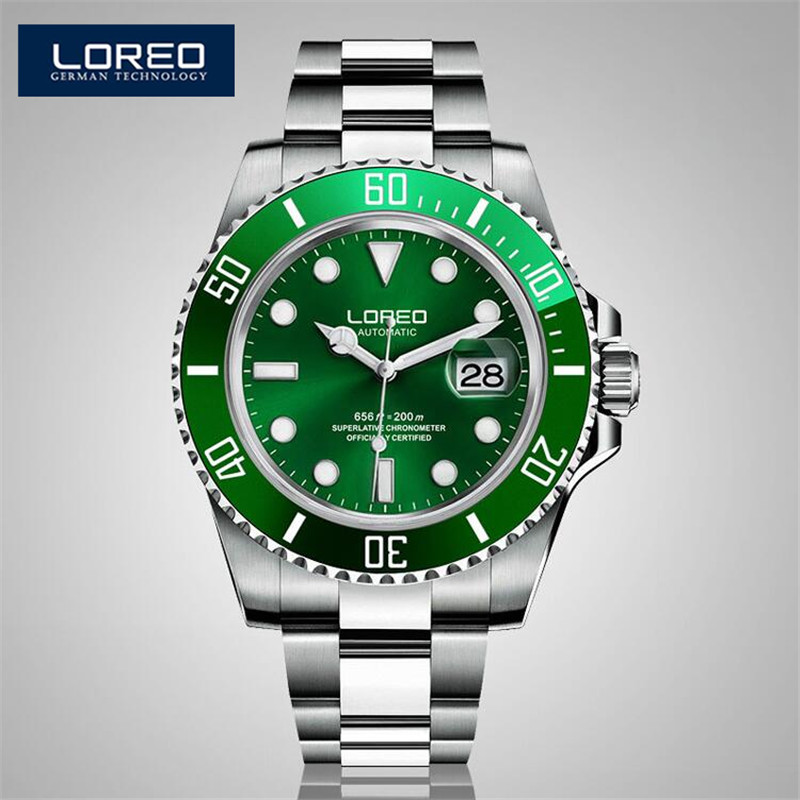 цена на LOREO Auto Date Complete Calendar Stainless Steel Band Men Automatic Mechanical Watch Analog Wrist Watches Christmas Gift AB2284