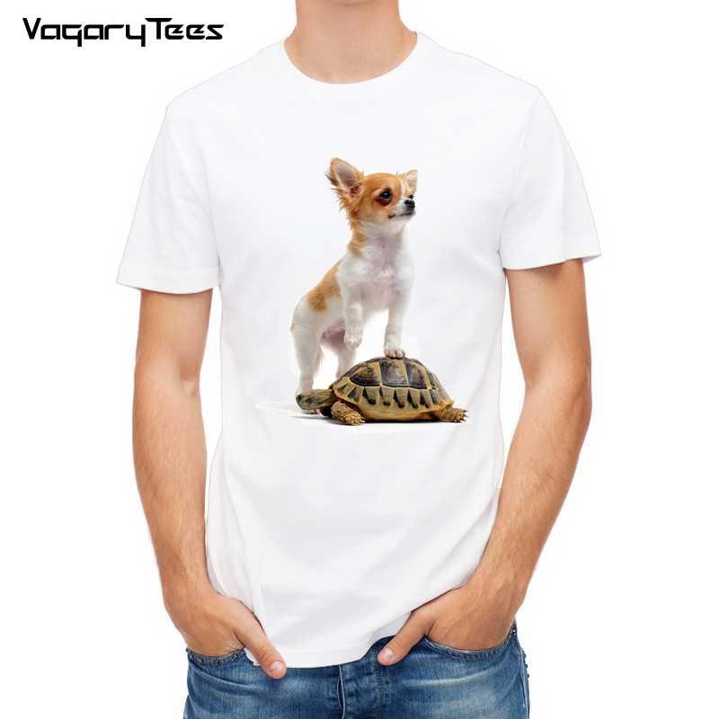 Mignon Chihuahua chien 3d t-shirt hommes 2019 nouveau décontracté respirant t-shirt homme drôle tortue temps t-shirt