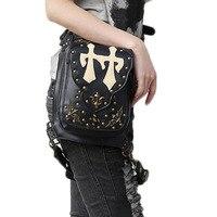 Sıcak Satış Erkek kadın PU Punk Retro Deri Kaya Gotik omuz Çantaları Deri Bel Fanny Paketi Kadın Messenger Kılıf Bacak çanta