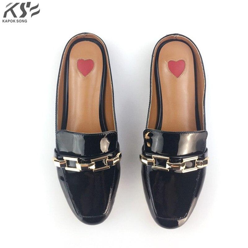 Love logo sandales femmes vraiment en cuir véritable designer de luxe femmes chaîne en métal chaussures d'été dame glisser sandales