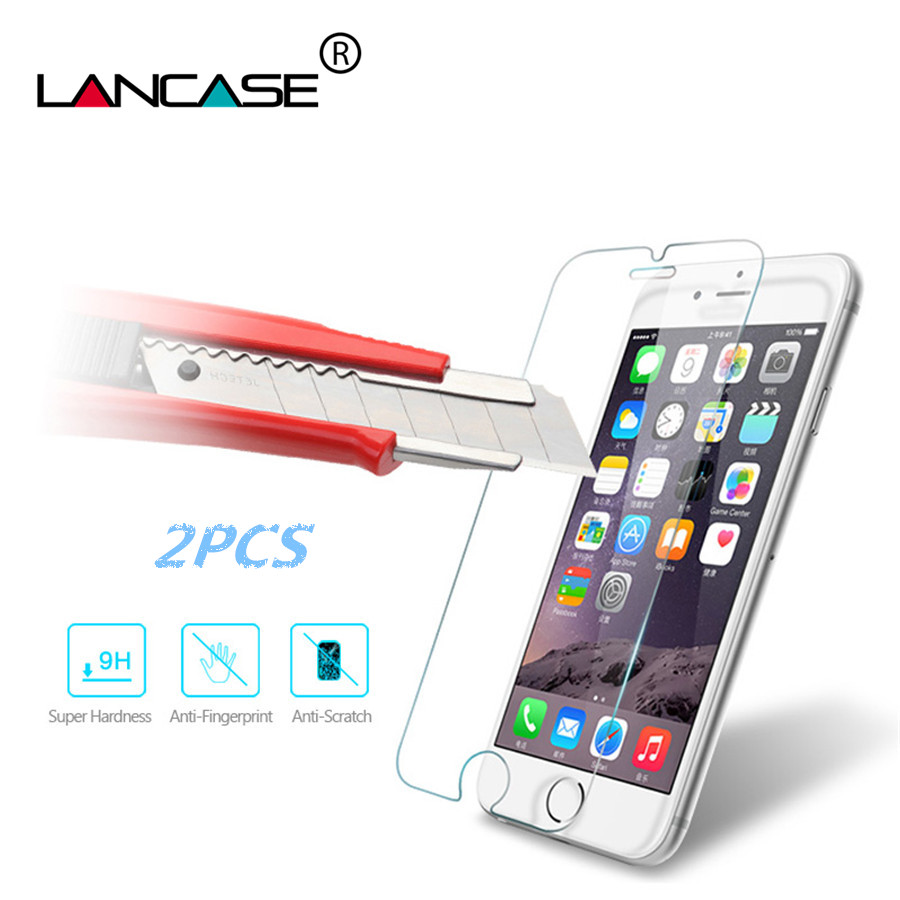 LANCASE 2PCS Screen Protector for iPhone 8 Tempered Glass 2.5D Front Film Hard Cover for iPhone 8 7 6 s Plus X Glass Verre Vidri