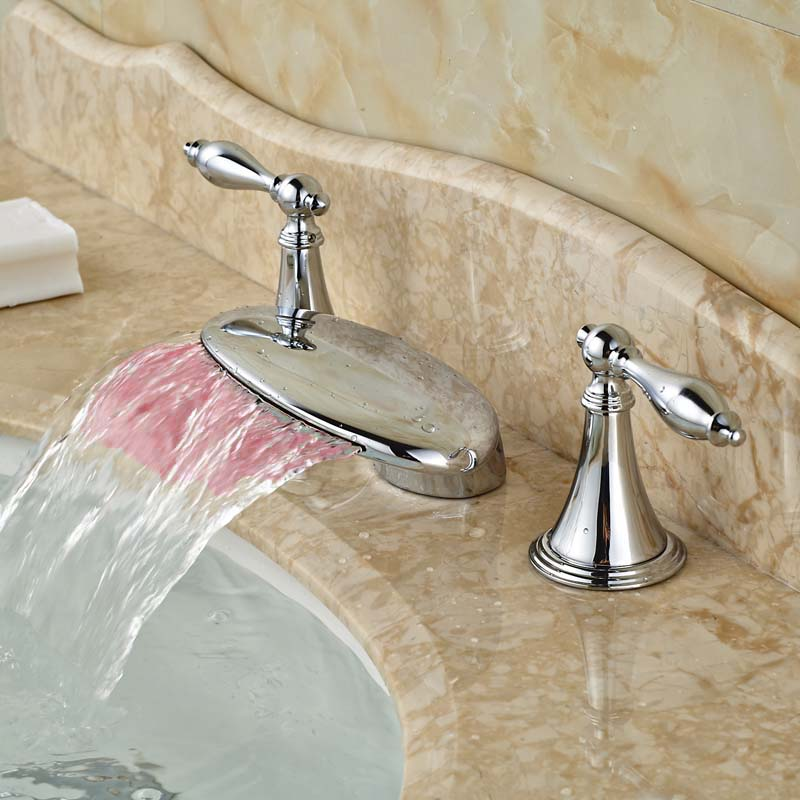 Hot Sale Best Quality Waterfall Spout Polished Chrome Dual Handles Three Holes Basin Faucet LED