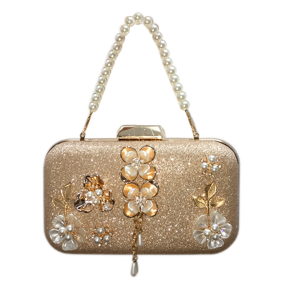 Chic Evening Totes with Beautiful Pearls and Flowers for Women, Evening Clutch with Detachable Chain ,great for Dating цена 2017