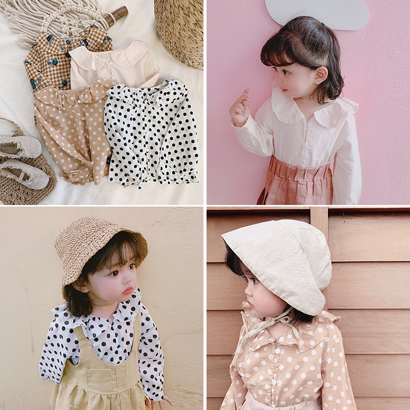 Baby Girls Spring Big Lotus Leaf Collar Shirt 2019 New Children Sweet Long Sleeve Dot Tops Kids Clothing