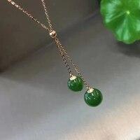 Zheru ювелирные изделия только чистый 18 К золото инкрустированные подвескаиз натурального камня Biyu 8 10 мм подвеска бусы ожерелье отправить ма