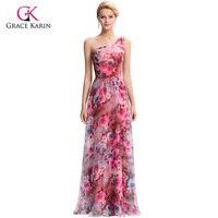 Luxury Evening Dresses Grace Karin 2016 New Arrival One Shoulder Printed Long Robe Soiree Longue Chiffon