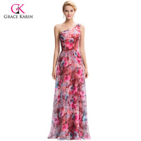 Luxury Evening Dresses Grace Karin 2018 New Arrival One Shoulder Printed long robe soiree longue chiffon Formal Gowns G59