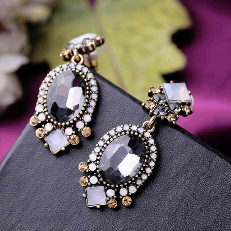 ZOSHI שחור קריסטל להתנדנד עגילים לנשים מסיבת חתונת כלה אביזרי טרנדי ארוך תכשיטים חג עגיל