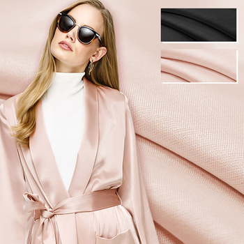 Meat Pink Black Solid Color Thick Silk Wool Spring and Autumn Winter Suit Pants Dress Jacket Fabric DE607