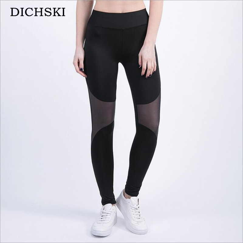 DICHSKI Women Fitness Running Tread Compression Pant Transparent Yoga Sportswear Sport Gym Tights Elastic Pants Gym High Quality