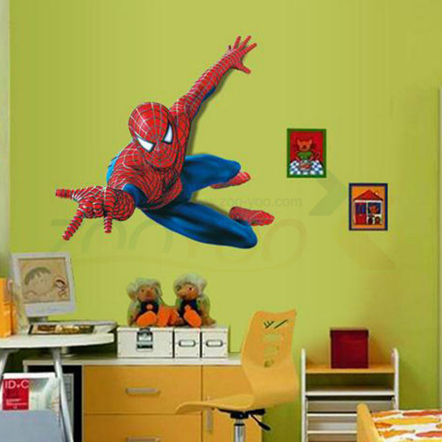 Superman Spiderman Giant Wall Stickers Adhesive For Children Room Wall 3D  Sticker Spider Man Decoration