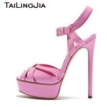 Woman Fish Mouth Heels Pumps Womem Platform High Pink Summer Ladies Shoes Buckle Party Dress Brand Handmade 2019