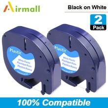Airmall 2 шт/комплект 12 мм * 4 м 91201 черный на белом совместимый Dymo letratag Клейкие ленты этикетки для ленты для принтера этикеток A91221 91331 59422