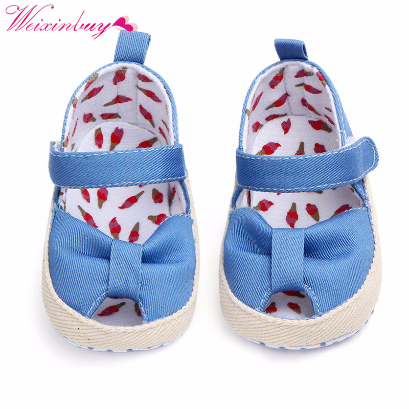Classic Cotton Baby Sandals Baby Shoes Summer Print Bow Baby Girl Sandals Breathable Fashion Fish Mouth Baby Girl Sandals
