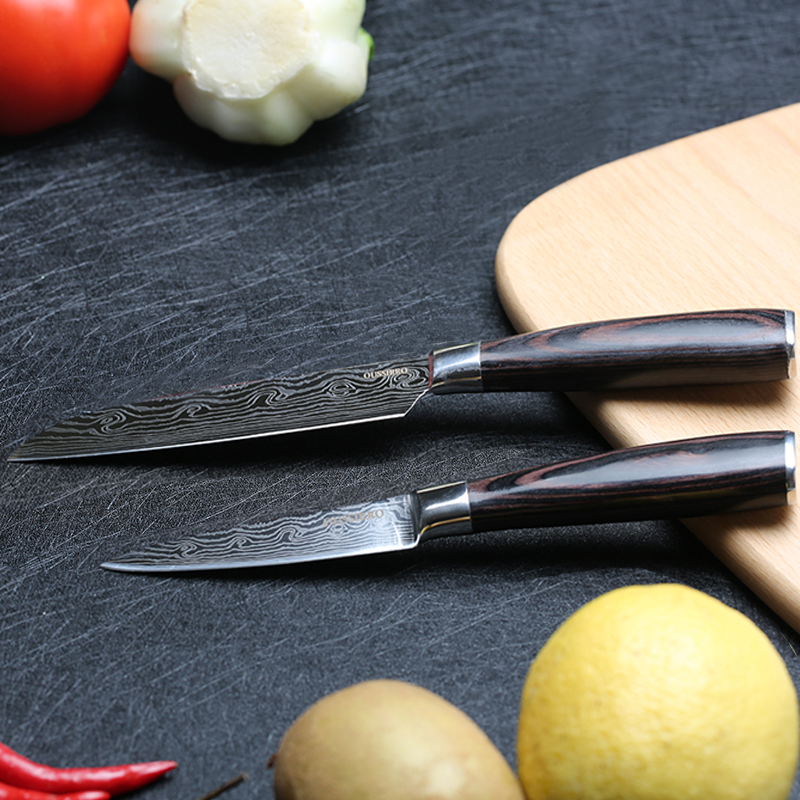 Kitchen Knife Set 5 3.5inch Santoku Knife Fruit Peeling 7Cr17 Stainless Steel Chef Knife Paring Slicing Veg Meat Multifunctional