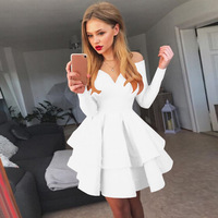 Plus Size 5XL Off The Shoulder Women Summer Dress Ruffles Long Sleeve Mini Dress Slash Neck Strapless Party Dresses