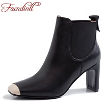 FACNDINLL 2019 new brand women ankle boots genuine cow leather high heels square toe shoes woman dress party riding boots 34-39 facndinll women boots new fashion autumn winter square high heels pointed toe zipper shoes woman dress party riding ankle boots