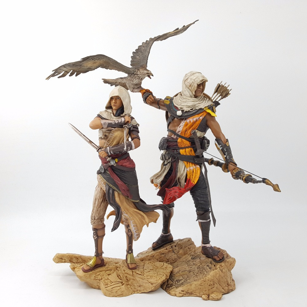 Assassin's Creed Origins Action Figure Bayek AYA PVC 230MM Anime Assassin's Creed Origins Figurine Model Toys assassins creed origins aya pvc figure collectible model toy 22cm