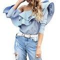 Mujeres Tops Y Blusas Nueva Moda Un hombro volantes camisa de la blusa mujeres tops blusa de algodón de la raya azul de primavera de alta calidad