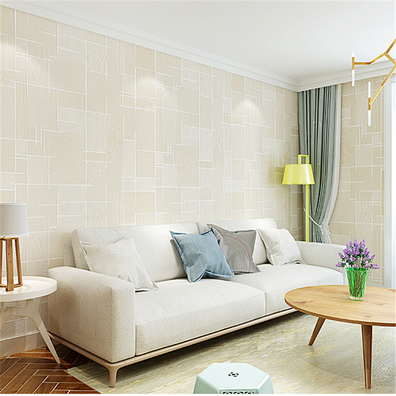 end modern bedroom living background solid plain beibehang lattice woven non simple wallpapers