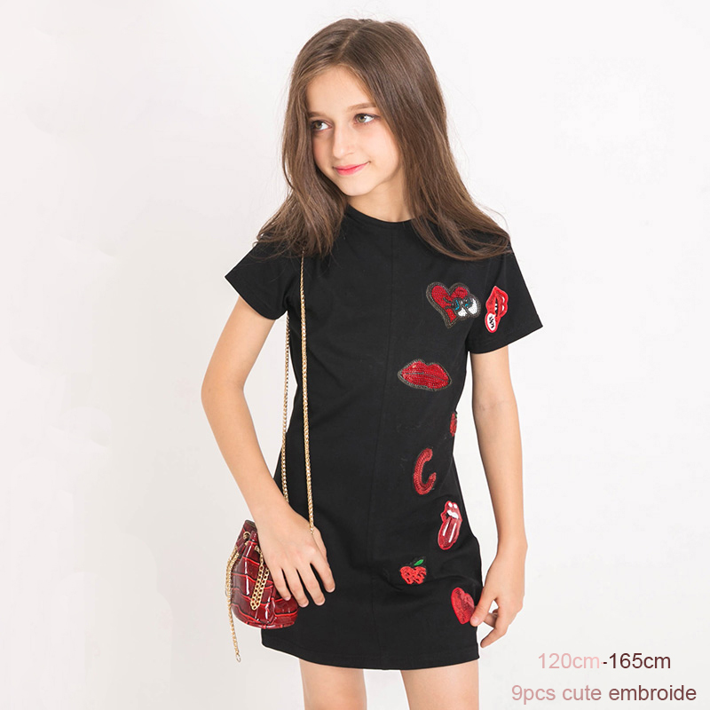 Fashion Summer Girls Dress Sequined Black Color Short Sleeve 100% Cotton Kids Girls Dress Long T Shirt for Teenage Girl 120-165 summer spring woman dress black white dog face pattern sequined beading chest black deep pink dress over knee cute cotton dress
