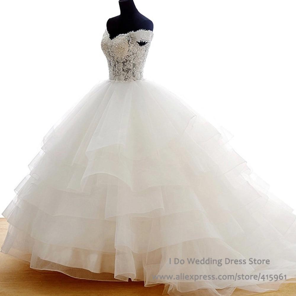 Romantique robe de bal robes de mariée réel Photo dentelle paillettes Transparent robes de mariée Corset