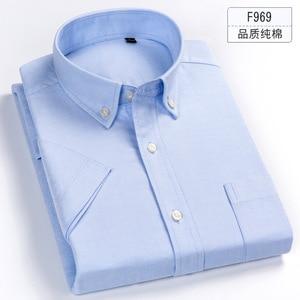 Image 2 - プラスサイズ 5XL 6XL 7XL 8XL 無地フル綿薄型半袖メンズシャツカジュアルビジネスフォーマルな白青シャツのための脂肪