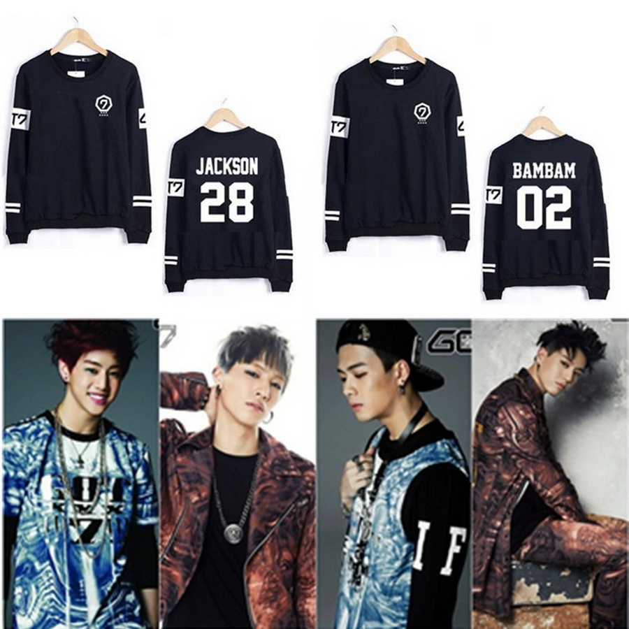 2016 Hot Sale Kpop GOT7 JJ Project Fly Jackson Mark JB Pullover Suit Men Women Long Sleeve Sweatshirt Outerwears Plus Size