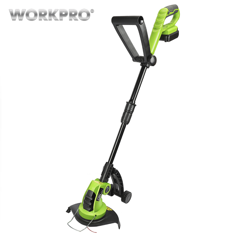 WORKPRO 18V Lithium Cordless Grass Trimmer Lawn Mower Adjustable Handles Garden Power Trimmer 2000mAh Charging Time