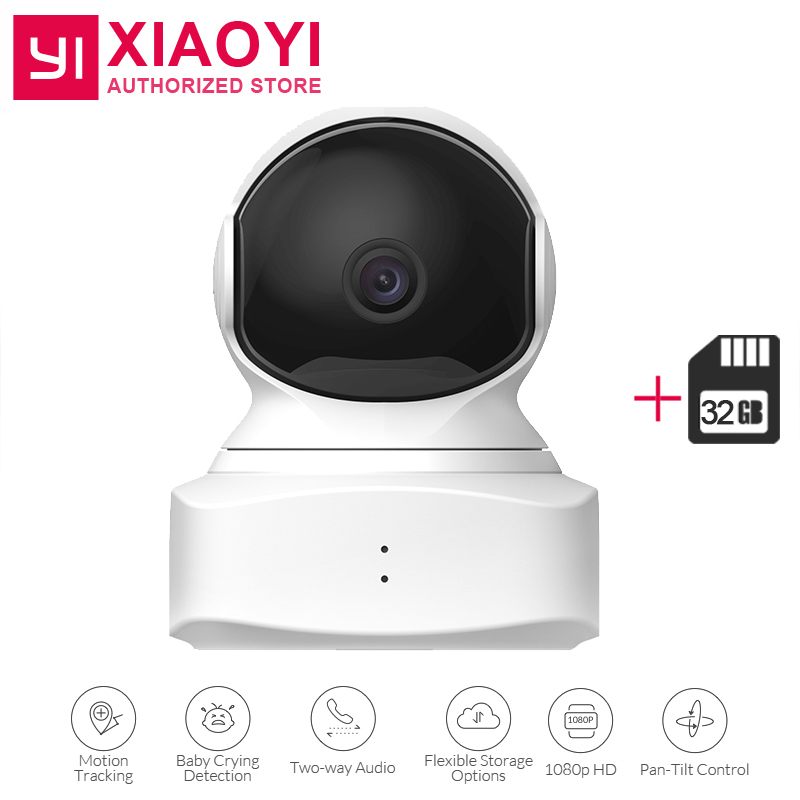 Original YI Cloud Dome Camera Baby Monitor+32 GB SD Card 1080P HD Night Vision Wireless Wifi IP Camera Pan/Tilt/Zoom Home Camera