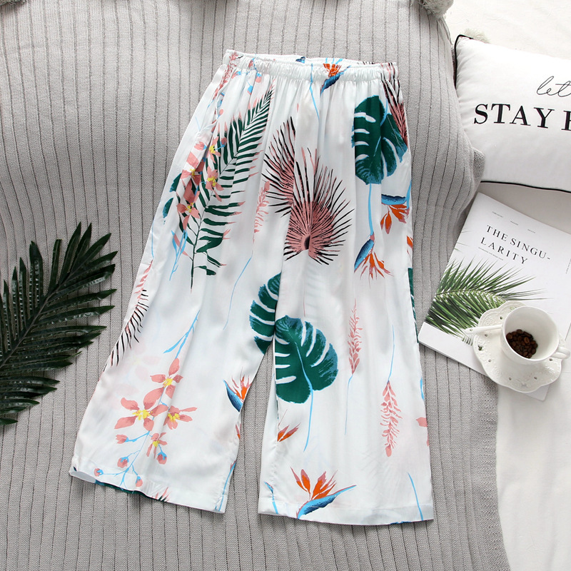 Fresh Rayon Summer Cropped Trousers Women Home Pants Sleep Bottoms Korea Indoor Pajamas Pants For Women Trousers
