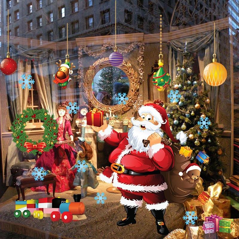 Frohe Weihnachten Wand Aufkleber Dekoration Santa Claus Geschenk Fenster Wand Aufkleber PVC Abnehmbare Wand Decals Weihnachten Neue Jahr Wohnkultur