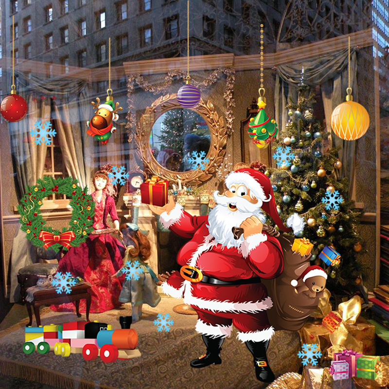 Christmas Decorations For Home Windows: Santa Claus Christmas Wall Stickers Window Glass Christmas