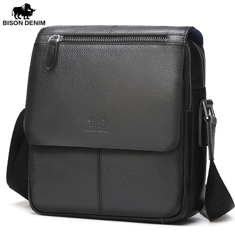 BISON DENIM Men bags 100% Genuine Leather Bag Men Classic Black Business CrossBody Bag Designer Cow Leather bags N2532 bison denim genuine leather men s bag business shoulder crossbody bag christmas gift designer handbags high quality n2333 1