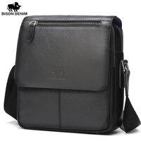 BISON DENIM 2016 Men Bags100 Genuine Leather Messenger Bag Men Classic Black Business CrossBody Bag Designer