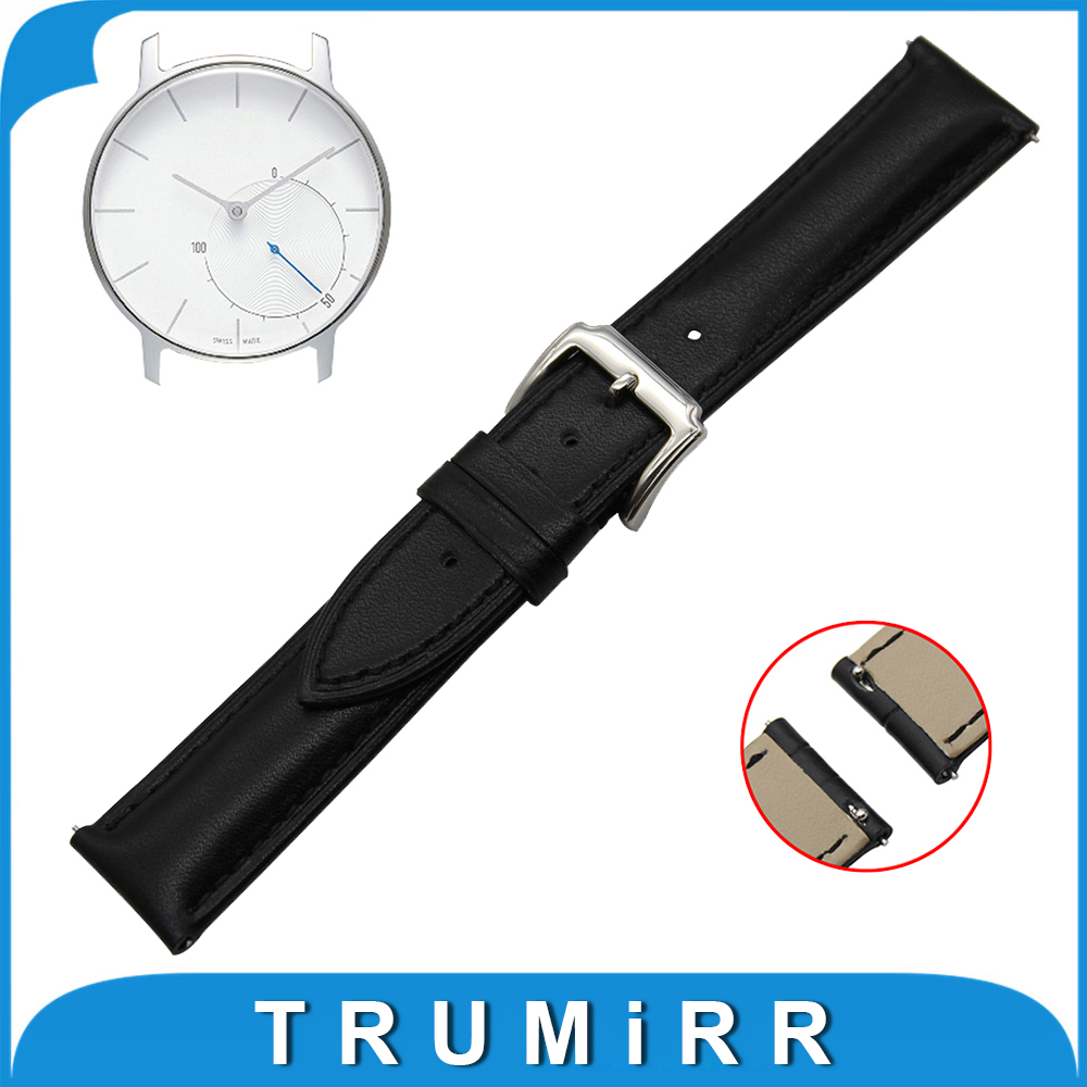 18mm First Layer Genuine Leather Watch Band Quick Release Strap for Withings Activite / Steel / Pop Wrist Belt Bracelet Black 18mm first layer genuine leather watch band for huawei watch fit honor s1 stainless steel buckle strap wrist belt bracelet