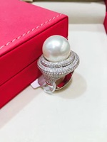 14 15MM big natural southsea pearl ring white 18K white gold with real diamond fine jewelry full of diamond
