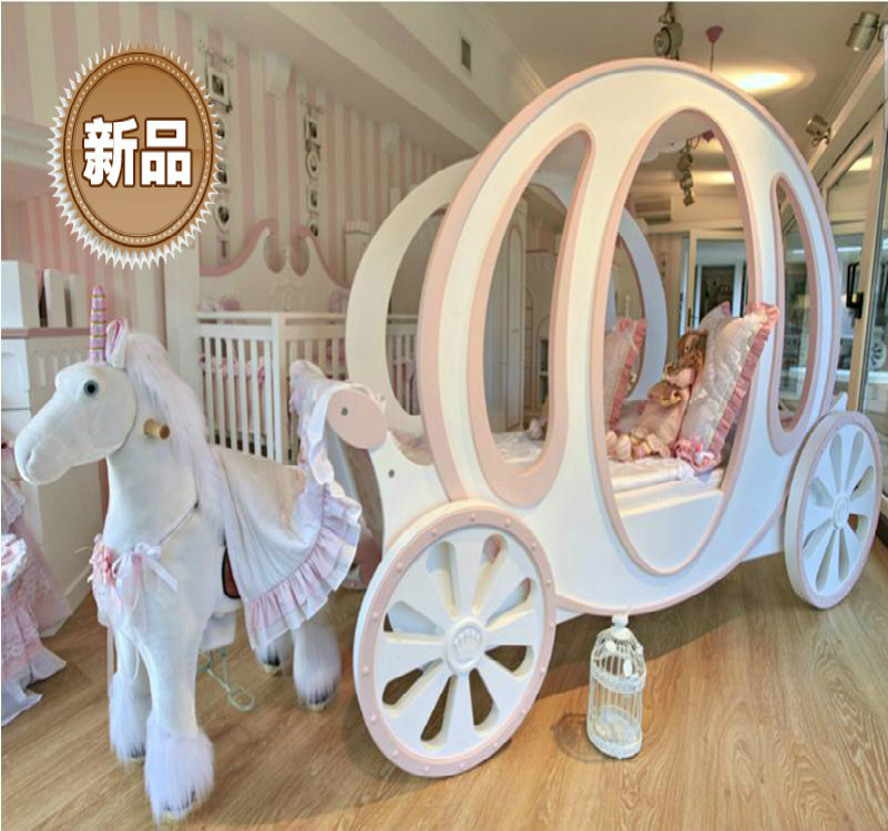 princess carriage <font><b>bed</b></font> for child room furniture-give a fairy tale for girls