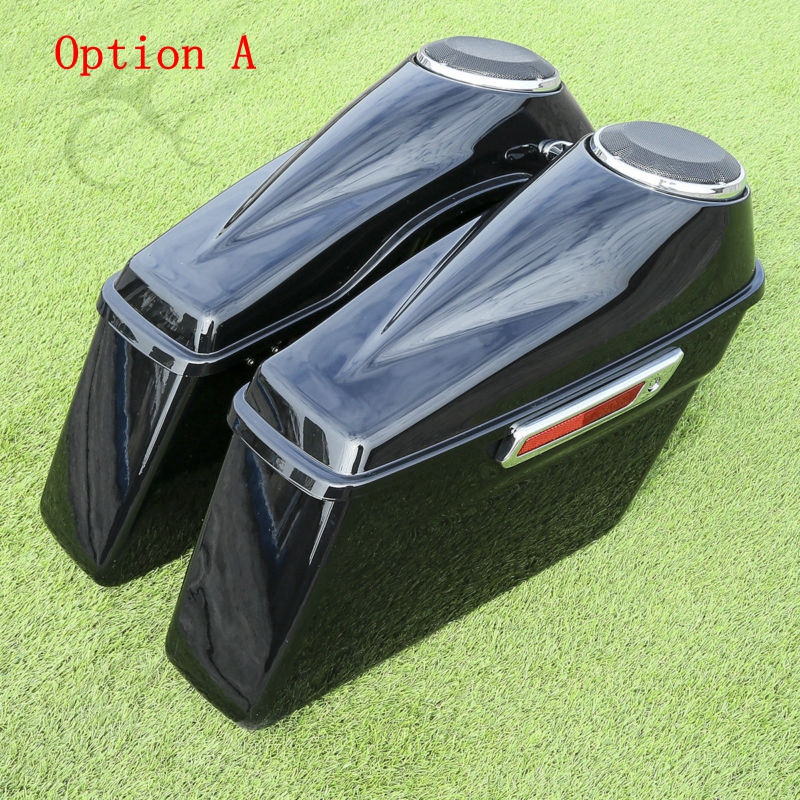 Motorcycle 6.5 Speaker Extended Stretched Saddlebag For Harley Touring Road King Electra Street Glide FLHR FLHT FLHTC 2014-2018 4 stretched hard saddlebag extension fit for harley touring models 94 13 12 road glide road king ultra street glide electra