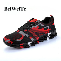 Men Sporty Running Shoes Knit Breathable Wearable Anti slip Camouflage Sneakers For Men Spring Outdoor Tourism Walking Shoes New